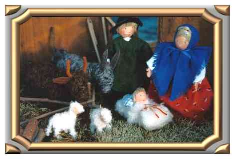 Titeltbild Krippenfiguren, mit Esel,Ochse,Maria, Josef, Jesuskind